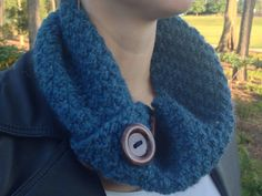 One handknit chunky cowl with buttons made from recycled wool. A perfect addition to an eco-friendly closet.    Ready to ship! One size fits