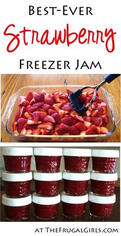 Nothing beats the simplicity of this Easy Freezer Jam Recipe. Strawberry Jam on . - Nothing beats the simplicity of this Easy Freezer Jam Recipe. Strawberry Jam on your morning toast - Easy Freezer Jam Recipe, Freezer Cooking, Easy Strawberry Recipes, Freezer Recipes, Freezer Desserts, Making Strawberry Jam, Sugar Free Strawberry Jam, Homemade Strawberry Jam, Food Storage