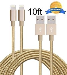 A two-pack of 10-foot long gold iPhone charging cables that you can share with your best ~glam pal~.