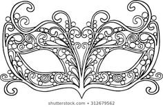 Image vectorielle de stock de Hand Drawn Outline Carnival Mask Illustration 312679562 Hand drawn outline carnival mask illustration decorated with abstract doodle ornaments Mascarade Mask, Masquerade, Colouring Pages, Adult Coloring Pages, 3d Pen Stencils, Mask Drawing, Scroll Saw Patterns Free, Mask Template, Diy Mask