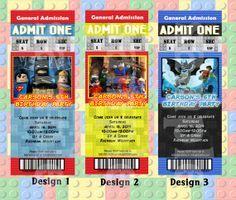 PERSONALIZED – DC Superheroes LEGO Party Invitation Admission Ticket Style 12ct-36ct Fast Batman Superman