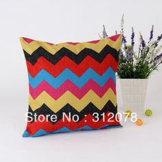 Decorative Colorful Chevron Square Burlap Cushion Cover for Couch Bedding * 45 CM Chevron, Burlap, Bedding, Cushions, Couch, Colorful, Throw Pillows, Decor, Tote Bags