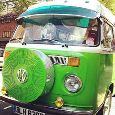 This VW camper van has seriously cool attitude. London 2014. Photo by Liz Nehdi. More at http://liznehdi.com/blog/2014/5/13/pattern-and-colour-inspiration-from-notting-hill #london #vw #classiccar #green