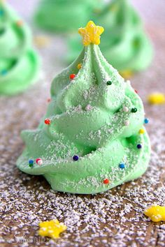 Christmas Tree Meringue Cookies, fun and festive meringue cookies that are light as air and melt in your mouth! Super cute for your holiday party!