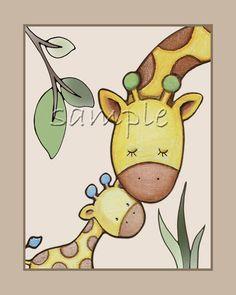 Baby love.Jungle Animal nursery art. elephant,monkey