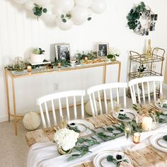 How to decorate a stylish, on-trend Botanical Bridal Shower. How to decorate a stylish, on-trend Botanical Bridal Shower. Baby Shower Verde, Baby Shower Boho, Gender Neutral Baby Shower, Baby Boy Shower, White Bridal Shower, Baby Shower Table Set Up, Baby Shower Ideas For Girls Themes, Cute Baby Shower Ideas, Babyshower Party