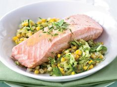 Poached Salmon with Corn and White Wine-Butter Sauce Recipe on Food & Wine recipes, Recipes , Seafood Recipe Food porn, healthy recipes, cooking Diet Salmon Recipes, Fish Recipes, Seafood Recipes, Healthy Recipes, Eat Healthy, Keto Recipes, Fish Dishes, Seafood Dishes, White Wine Butter Sauce