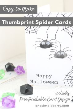 Send Halloween greetings this season with this easy Halloween kids craft - DIY Thumbprint Spider Halloween Cards. Featuring your child's thumbprints, they are sure to be a keepsake for friends and family. Check out the full tutorial on our website here. #kidshalloweencraft #spidercraft #handmadehalloweencard #diyhalloweencard Halloween Crafts For Kids, Easy Halloween, Diy Crafts For Kids, Halloween Greetings, Halloween Cards, Free Printable Cards, Free Printables, Spider Card, Spider Crafts