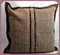 "Handmade Piped Cushion Cover John Lewis VOYAGE PARTRIDGE Tweed  Wine 18"" 45 Cm"