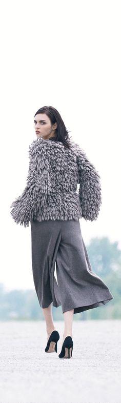 Just walk away in Michael Kors' Alpaca & Wool Fringe-Knit jacket and Wool Flannel Culottes.
