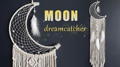 Learn how to make a beautiful Moon Dreamcatcher using macrame and weaving technique. This is a wonderful wall hangin. Macrame Wall Hanging Patterns, Macrame Plant Hangers, Macrame Patterns, Making Dream Catchers, Dream Catcher Decor, Moon Dreamcatcher, Dreamcatchers, Dreamcatcher Tutorial, Diy Dream Catcher Tutorial