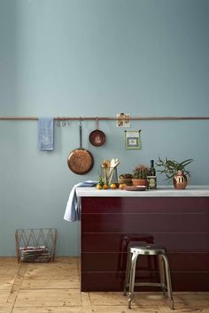keuken-koper-bordeaux-zeeblauw Kleuren: op de wand Q3.08.73