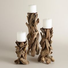 Handcrafted of organic driftwood by Philippine artisans, our candleholder result. Handcrafted of organic driftwood by Philippine artisans, our candleholder results in a rustic table Driftwood Furniture, Driftwood Projects, Diy Projects, Driftwood Sculpture, Driftwood Art, Wooden Decor, Wooden Diy, Rustic Tabletop, Black And White Posters