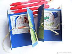 Купить новогодние открытки Подарки под елочкой, ручная вышивка крестом синий в интернет магазине на Ярмарке Мастеров