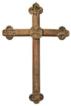Probably Netherlandish, 15th/16th century CROSS WITH SYMBOLS OF THE FOUR EVANGELISTS