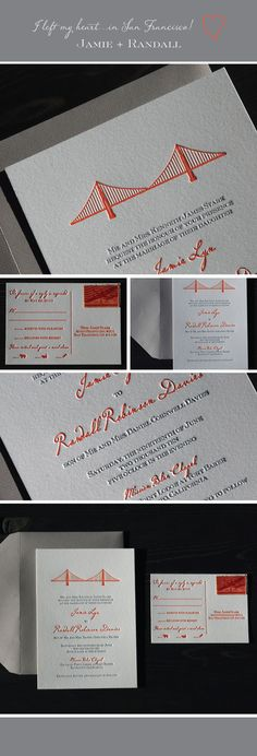 Love these Golden Gate Bridge inspired invitations
