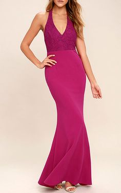 Work your magic in the Love Potion Fuchsia Lace Halter Maxi Dress! A gorgeous lace overlay shapes a plunging halter neckline and maxi skirt. Best Maxi Dresses, Prom Dresses 2018, Halter Maxi Dresses, Blue Bridesmaid Dresses, Fuschia Dress, Purple Maxi, Freakum Dress, Lavender Dresses, Date Night Dresses