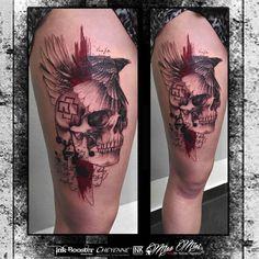 thigh trash polka tattoo