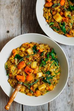 Roasted Root Vegetable, Red Rice and Lentil Stew