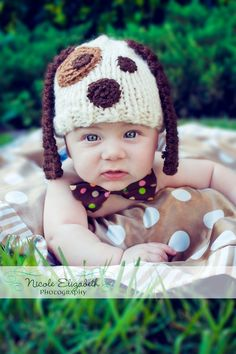 Puppy Dog Knitted Hat- PHOTO PROP. $22.00, via Etsy. I NEED this hat for my little man!