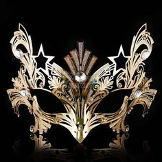 Womens-Luxury-Light-Metal-Laser-Cut-Venetian-Mardi-Gras-Masquerade-Mask-Gold