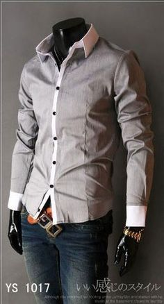 Men Shirt, White Detail, Dior Style