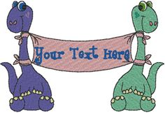 Baby Dinosaur Banner Embroidery Design.  Let these two adorable baby dinos carry your banner for you. Your design will have no text on the banner so you can add your words and create your own very special announcement.