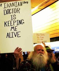 "The sign says""My Iranian born dr is keeping me alive! "" #Trump #Muslimban #Iran #USA #America #Humanity #Viral #Obama #BernieSanders #american #Europe #UK #Germany #MidddleEast"