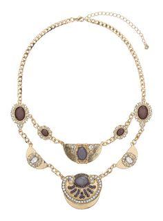 Halskette mit Scheibenanhängern mit violetten Schmucksteinen