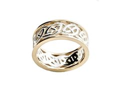"The Celtic Knot is the Symbol of Eternal Love; there is no start and no finish to the weave. The 10K Gold bands surrounding it represent the two people holding that love together forever. The Gold and Silver Celtic Ring measures approximately 1/4"" wide (.6 cm). This Irish ring has been hallmarked stamped as a guarantee of purity and quality, and comes in a high quality gift box that is perfect for gift giving. Designed by renowned Celtic Jewelry Designer Keith Jack."