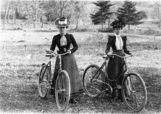 """Female Cyclist and their """"Safety"""" bicycle, circa 1900."""