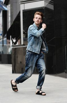 Jean Jacket, Denim Overalls, and Black Birkenstocks, Men's Spring Summer Fashion.