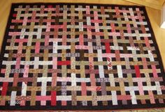 Basketweave Quilt in Pink and Brown