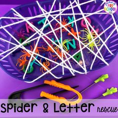 Nocturnal Animals Activities and Centers for Little Learners Pocket of Preschool : Spider rescue and letter rescue fine motor challenge. Plus more Nocturnal Animals activities and centers for preschool, pre k, and kindergarten. Pre K Activities, Animal Activities, Halloween Activities, Autumn Activities, Kindergarten Activities, Preschool Crafts, Kindergarten Classroom, Preschool Halloween, Fall Preschool