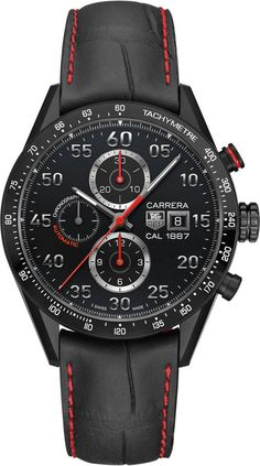 TAG Heuer Watch Carrera Racing Chronograph Calibre 1887 #bezel-fixed #bracelet-strap-alligator #brand-tag-heuer #case-material-titanium #case-width-43mm #chronograph-yes #date-yes #delivery-timescale-sold-out #description-done #dial-colour-black #gender-mens #luxury #movement-automatic #official-stockist-for-tag-heuer-watches #packaging-tag-heuer-watch-packaging #style-sports #subcat-carrera #supplier-model-no-car2a80-fc6237 #warranty-tag-heuer-official-2-year-guarantee #water-resistant-100m