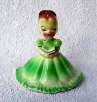 VINTAGE JOSEF ORIGINALS GREEN GIRL LADY HOLDING BOOK FIGURINE BELL #f6d