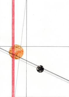 "AllisonLongHardy Circle and Line 6, 7.25"" x 10"" small, minimalist drawing"