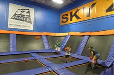 Trampoline dodge ball at Sky Zone Indoor Trampoline Park, Columbus, Ohio.  Looks like a lot of fun