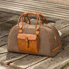 Handcrafted Custom Made Luxury Travel Duffel in Tweed with Cognac Painted Calf Leather From Robert August. Create your own custom designed shoes. Custom Made Shoes, Custom Design Shoes, Leather Work Bag, Calf Leather, Leather Bags, Fashion Handbags, Fashion Bags, How To Make Shoes, Leather Luggage