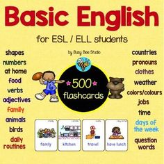 ESL Basic English 500 Flash Cards