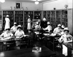 A library teaming with studious young nurses during the 1940s. #nurse #vintage #hospital #1940s #forties #nun #uniform #library