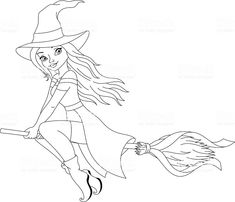 Witch flying on broom Witch Flying On Broom, Halloween, Colour Combinations, Witches, High Resolution Picture, Holiday Wreaths, Coloring Pages, Illustrations, Colors