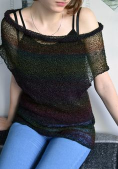 Loose knit vest soft jumper spring cropped sweater summer pullover knitted jacket cape kimono sleeve capelet gift for her grunge crop top