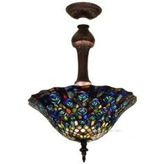51 best tiffany lighting images on pinterest stained glass peacock semi flush tiffany stained glass ceiling lighting fixture 20 inches w aloadofball Gallery