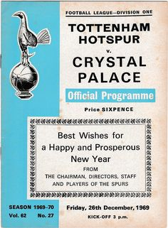 Vintage Football (soccer) Programme - Tottenham Hotspur v Crystal Palace, 1969/70 season #football #soccer #tottenham #spurs #crystalpalace