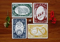 Pick 4 Hand-Printed Christmas Card - Linocut, Red Green Bronze Navy, Sheep Wise Men Horn Harp Stars Sun Moon Medieval Religious Woodcut