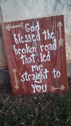 Christian Pallet Sign Wood Christian Décor Adoption Gift Country Music 15x12 inch one of a kind, reclaimed wood sign with hand-lettering and sparkly gold glittered arrows. God Blessed the Broken Road That Led Me Straight to You is the perfect quote for couples in love, those touched by adoption, and so many other people with different life circumstances. Give a truly unique gift that will be treasured forever at the next wedding or baby shower you attend! Having adopted our precious kids…