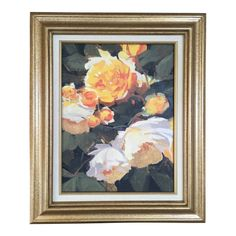 Image of Vintage French Oil Flower Painting