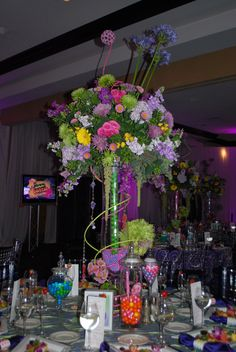 Candy Themed Bat Mitzvah Event Decor Adult Floral Arrangements Party Perfect Boca Raton, FL 1(561)994-8833