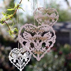 Vintage Style Hanging Heart Lovebirds - The Wedding of My Dreams